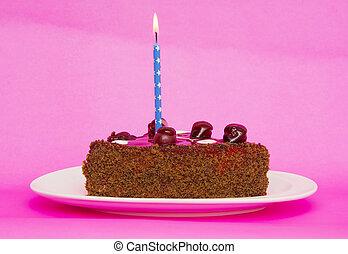 粉紅色, 蜡燭, 生日, 蛋糕, 背景