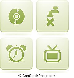 Olivine Square 2D Icons - Vector icons set saved as an Adobe...