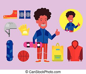 Afro American Teenager Flat Cartoon - Vector Design of Afro...