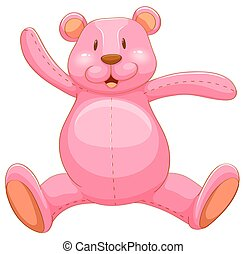 Pink teddy bear with happy face illustration