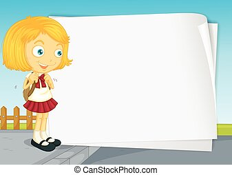 Border design with girl in school uniform illustration
