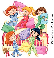 Girls playing pillow fight at slumber party