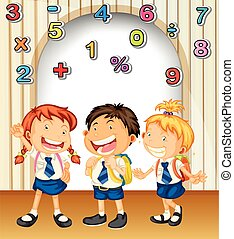 Boy and girls in school uniform illustration