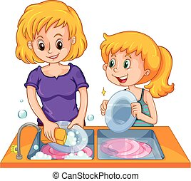 Girl helping mom doing the dishes