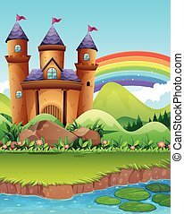 Castle towers by the pond illustration