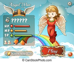Game template with angel in the sky illustration