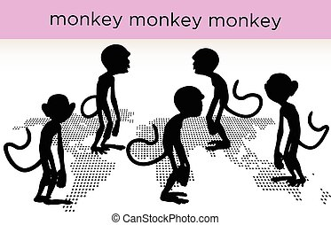 monkey silhouette in various poses