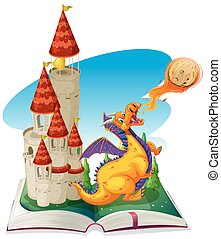 Fantacy book with drago and castle illustration