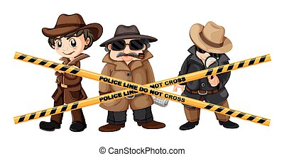 Three detectives looking for clues illustration