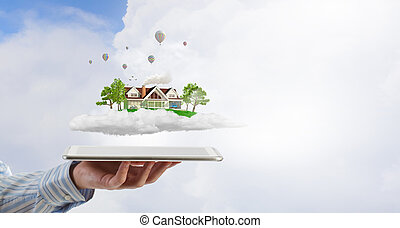 House model on tablet screen - Male hands holding tablet pc...