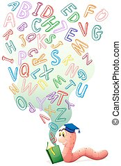 Bookworm with book of english alphabets illustration