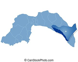 Map of Antalya - Alanya is pulled out - Map of Antalya with...