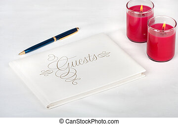 Wedding Guest Book - Wedding guest book with pen and candles...