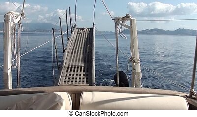 Gang plank aboard yacht - Gang plank, on the go aboard yacht