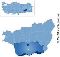 Map of Diyarbakir - Cinar is pulled out - Map of Diyarbakir...