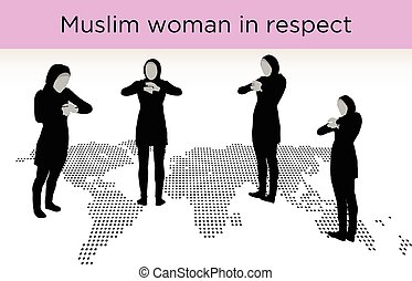 Muslim woman silhouette in respect pose, isolated on white...
