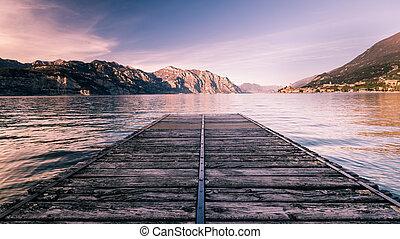 Walkway over the Lake Garda, Italy. - Walkway over the Lake...