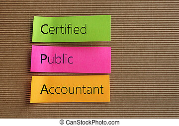 Certified Public Accountant (CPA) text on colorful sticky...