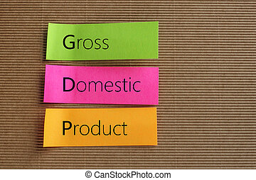 GDP acronym - Gross Domestic Product (GDP) text on colorful...