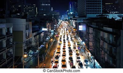 Beautiful Illuminated Road Traffic - Main road in central...