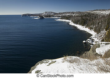 Lake Superior, Minnesota - Lake Superior shore with snow at...