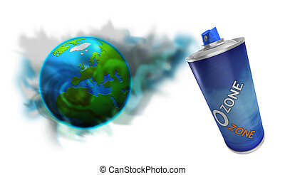 Spray can with Ozone colors