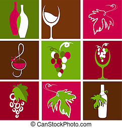 Collection of wine icons and logos - Collection of retro...