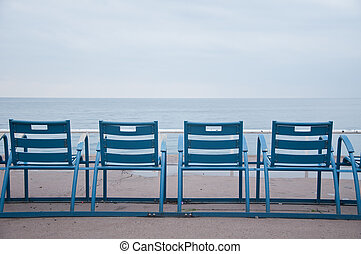 Chairs along the Promenade in Nice, French Riviera, during...