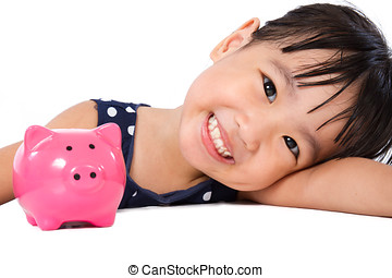 Asian Little Chinese Girl With Piggy Bank