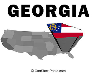Georgia - Outline map of the United States with the state of...