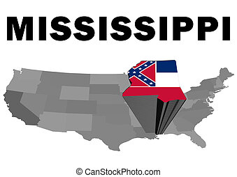Mississippi - Outline map of the United States with the...