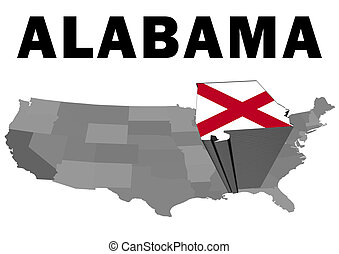 Alabama - Outline map of the United States with the state of...