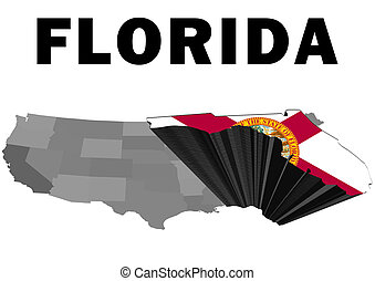 Florida - Outline map of the United States with the state of...