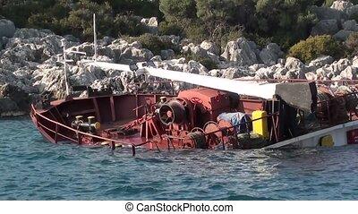 Sunken wreck boat 2 - Kas, Turkey - 23/10/2001: Sunken ship...