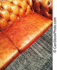 Luxurious leather sofa on gray carpet - Luxurious classic...