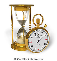 Hourglass and stopwatch