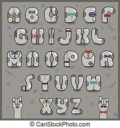 Hipster Alphabet. Vintage Font. Vector Illustration