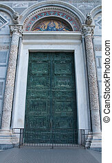 Detail of the main door of the basilica of Pisa, square of...