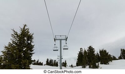 Time lapse of ski chair lifts in OR
