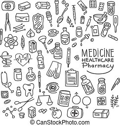 Health care and medicine doodle icon set, vector...