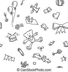 Cute doodle baby seamless pattern - Cute doodle baby icons...