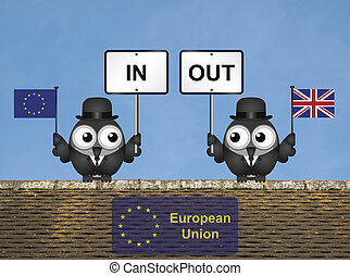 Rooftop European Union Referendum - Comical bird campaigners...