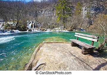 plitvice national park - Wooden bench at the Plitvice...