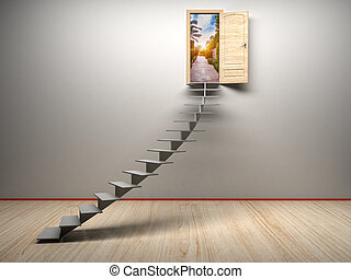 3d room with opened door