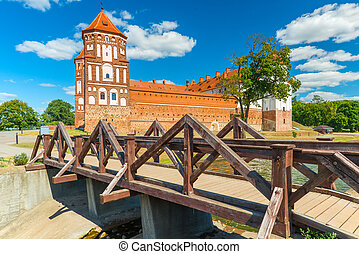 Mir brick medieval castle and wooden bridge - Mir Castle -...