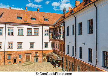 the inner courtyard of the castle complex Mir - Mir Castle -...