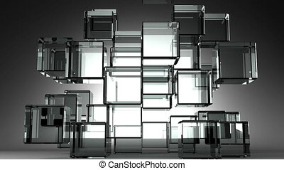 Glass Cubes Abstract On Black Background.