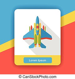 Fighter aircraft flat icon