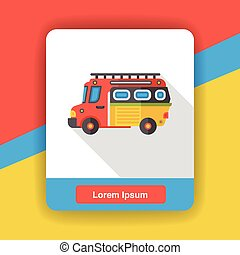 Transportation Fire truck flat icon