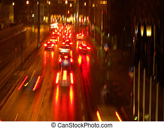 red street - red backlights on wet street...